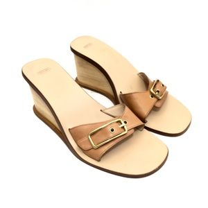 Coach Camel Leather Wooden Wedge Sandals w/ Buckle